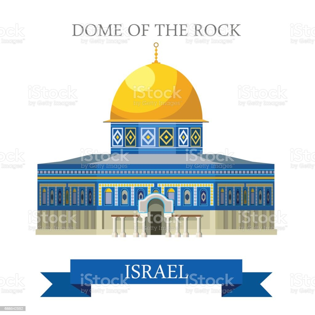 Dome of the Rock in Jerusalem, Israel. Flat cartoon style historic sight showplace attraction web site vector illustration. World countries cities vacation travel sightseeing Asia collection. vector art illustration