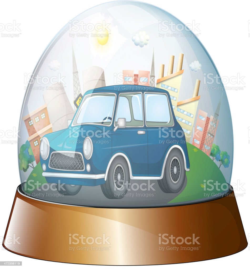 Dome with a blue car royalty-free stock vector art