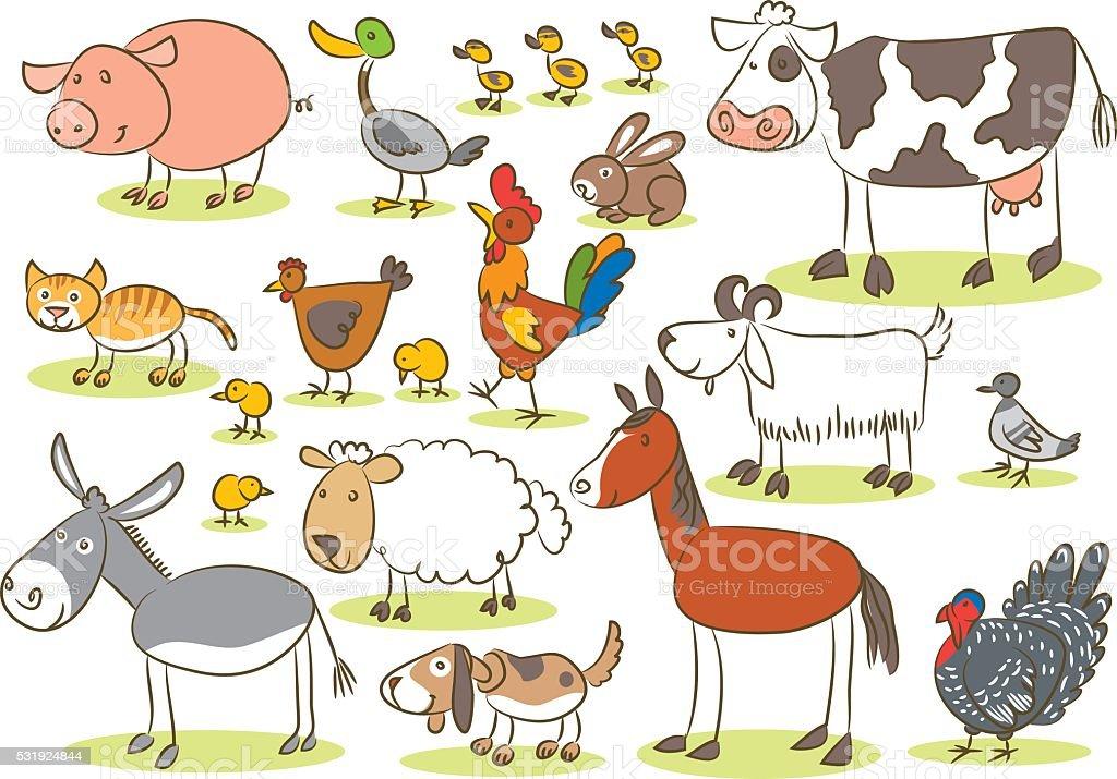 Domestic animal kids drawing stock vector art 531924844 - Animal drawwing kids ...