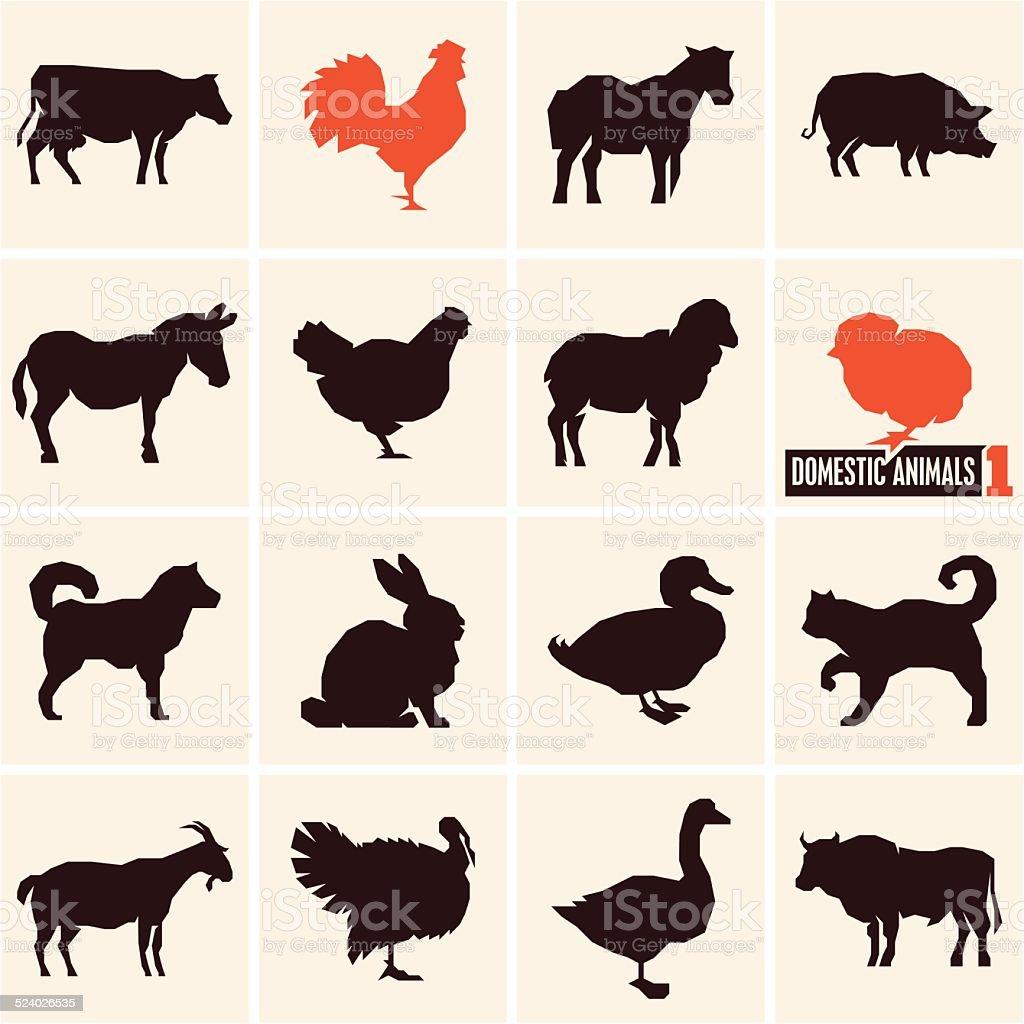 Domestic animals vector art illustration