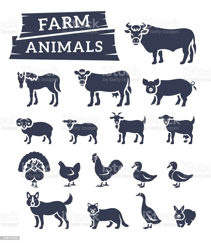 Domestic farm animals flat silhouettes vector icons vector art illustration