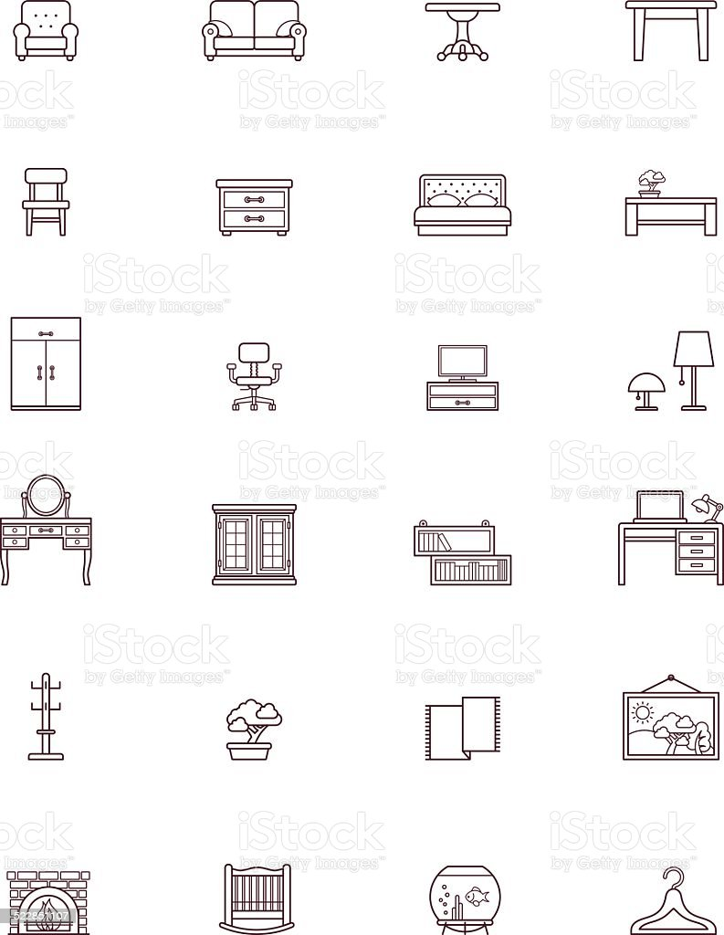 Domestic furniture icon set vector art illustration