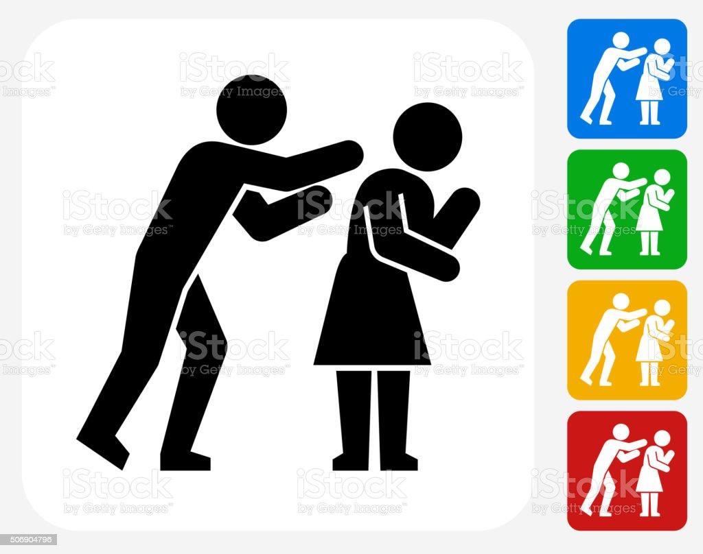 Domestic Violence Icon Flat Graphic Design vector art illustration