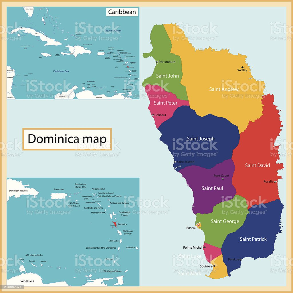 Dominica map vector art illustration