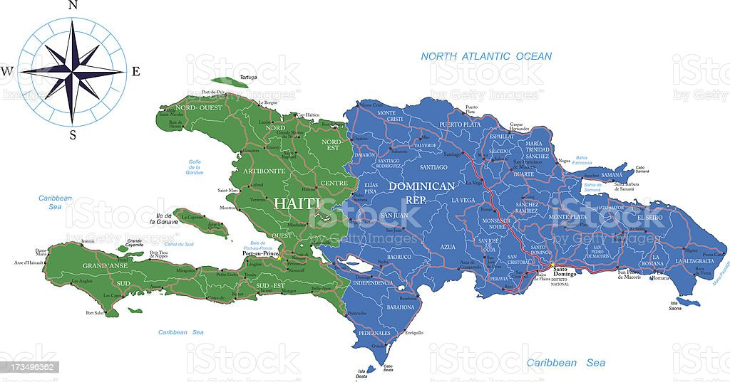 Dominican Republic and Haiti map vector art illustration