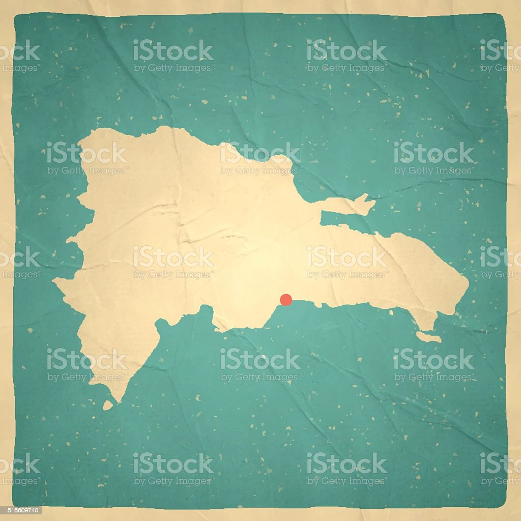 Dominican Republic Map on old paper - vintage texture vector art illustration