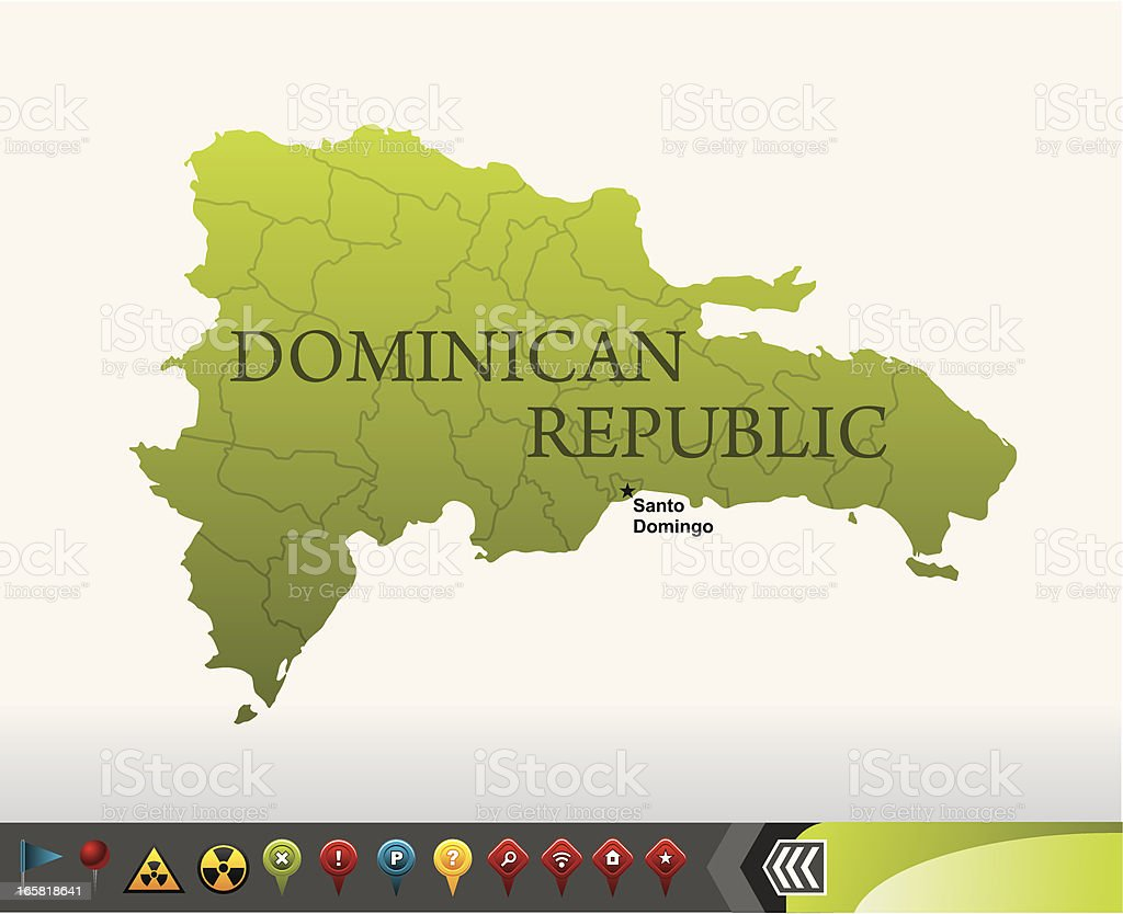 Dominican Republic map with navigation icons royalty-free stock vector art