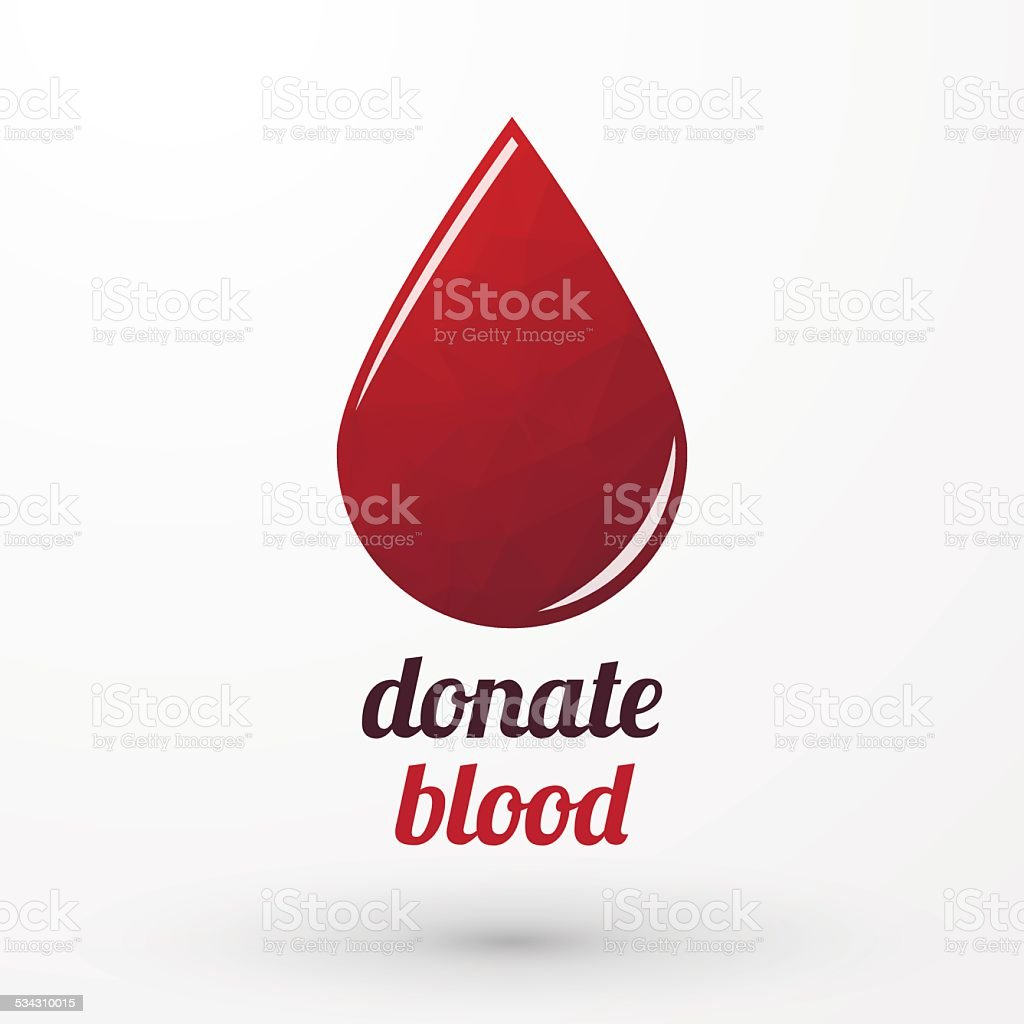 Donate blood and red drop with shadow vector art illustration