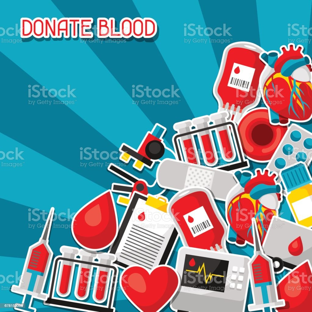 Donate blood. Background with blood donation items. Medical and health care sticker objects vector art illustration