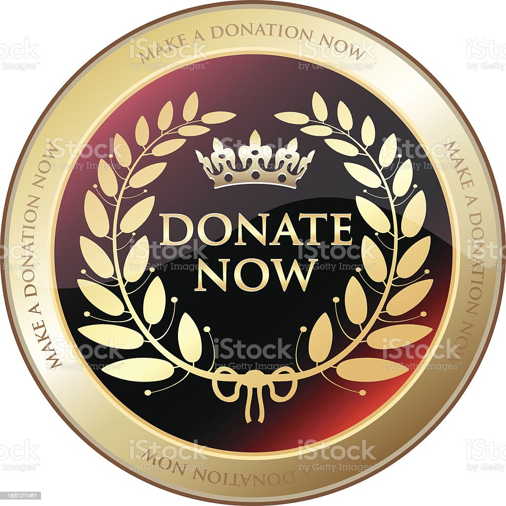 Donate Now Gold Emblem royalty-free stock vector art