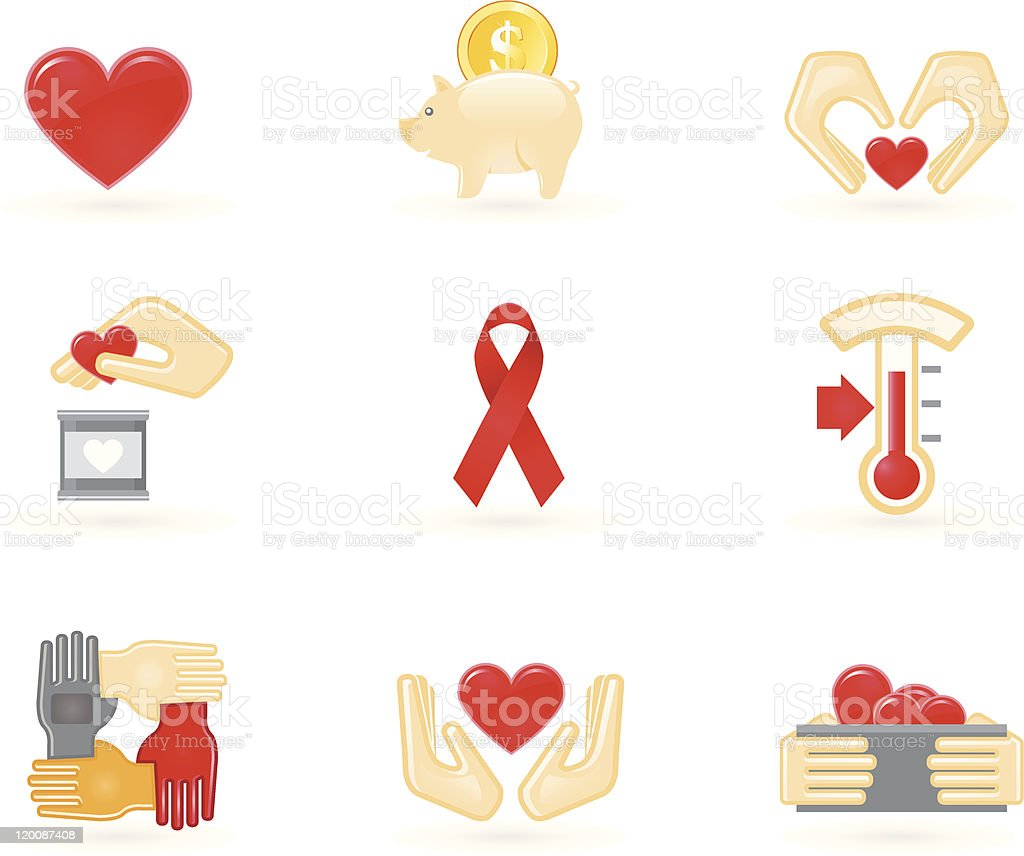 Donation and charity icons royalty-free stock vector art
