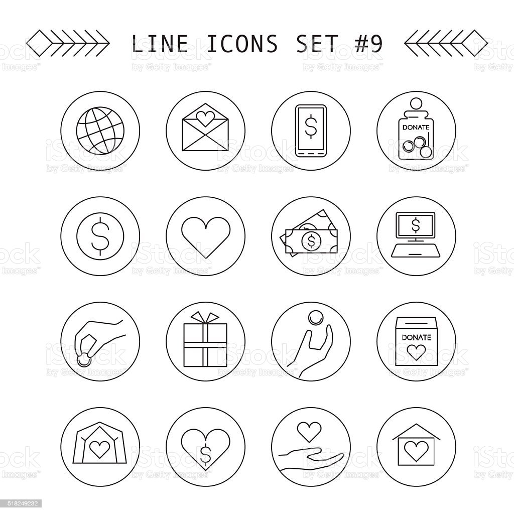 Donation and charity vector linear icons vector art illustration