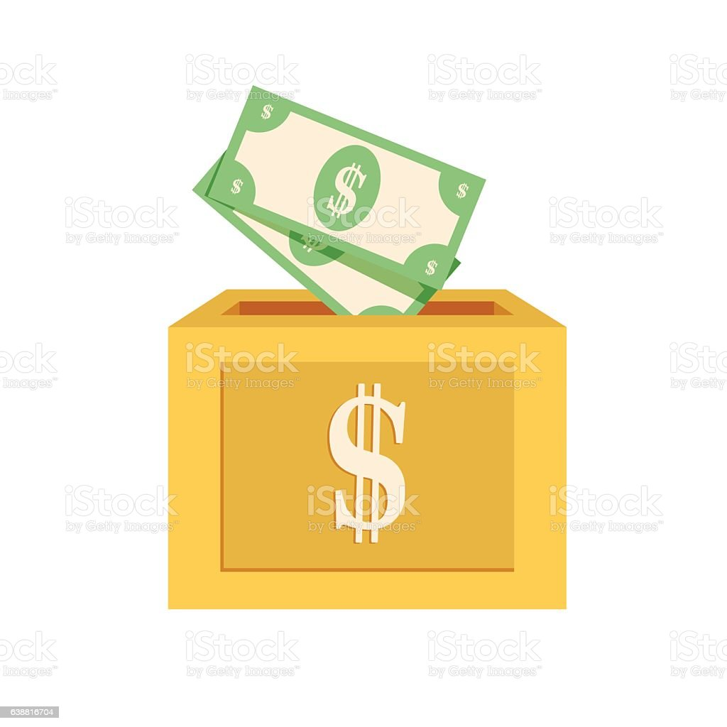 Donation box icon. Flat illustration vector art illustration