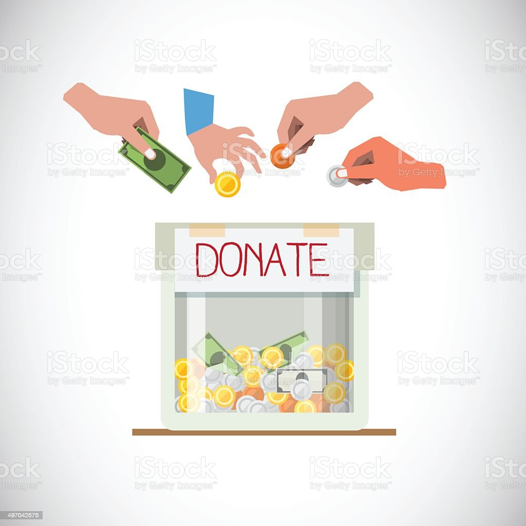 Donation box with hand - vector illustration royalty-free stock vector art