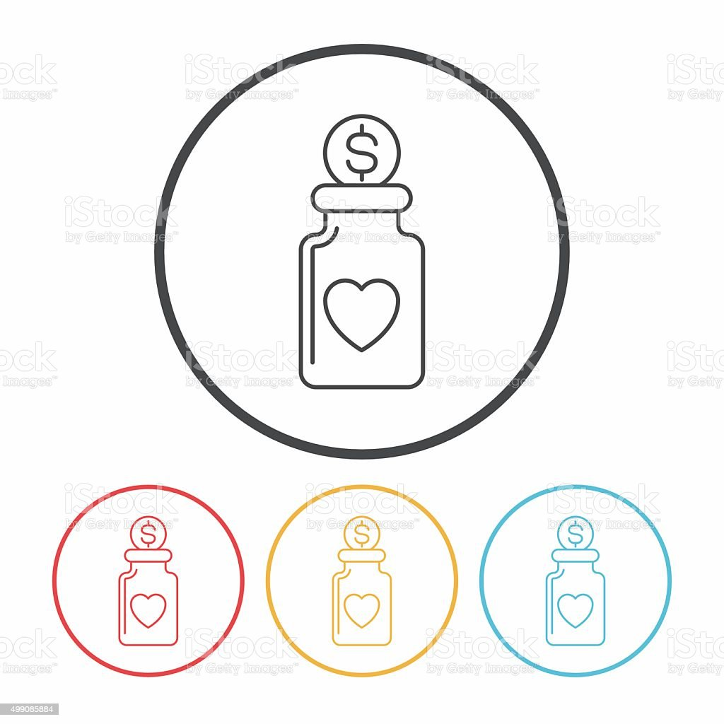 Donation line icon vector art illustration