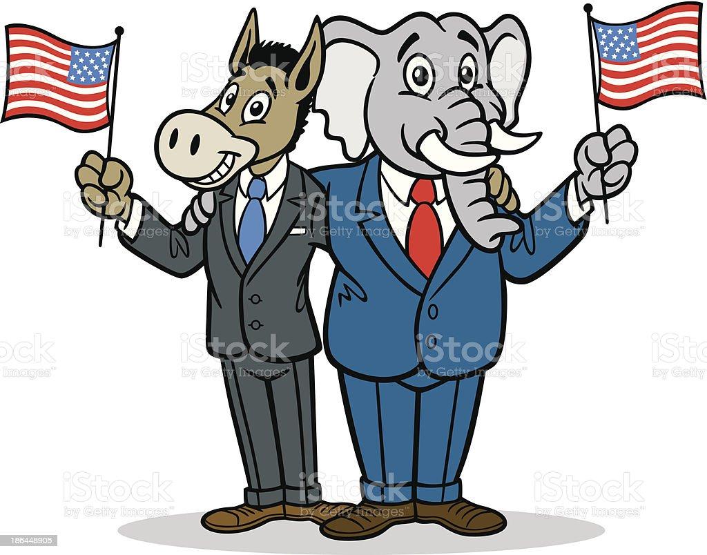 Donkey And Elephant Cartoon royalty-free stock vector art