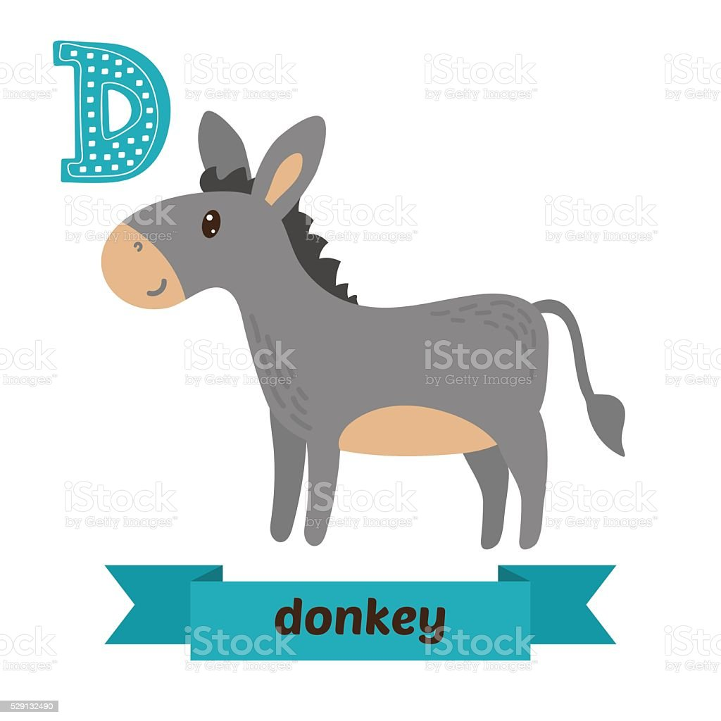 Donkey. D letter. Cute children animal alphabet in vector. Funny vector art illustration