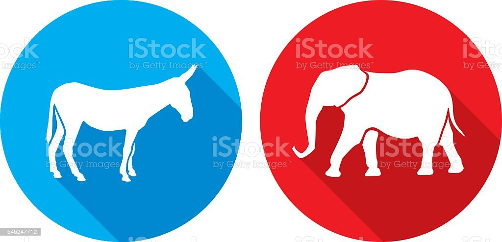 Donkey Elephant Icon Silhouettes vector art illustration