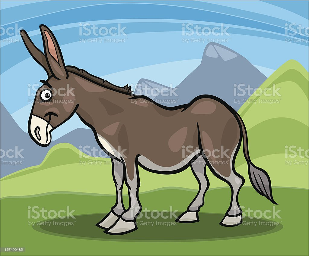 donkey farm animal cartoon illustration royalty-free stock vector art