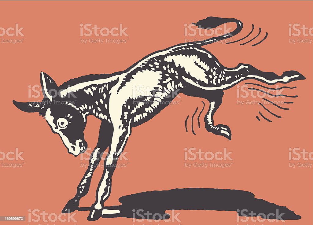 Donkey Kicking vector art illustration