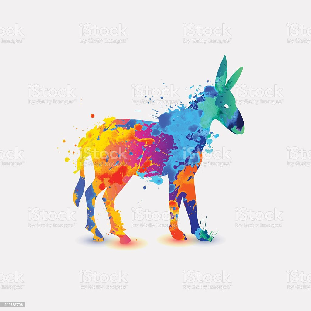 Donkey. Rainbow splash icon vector art illustration