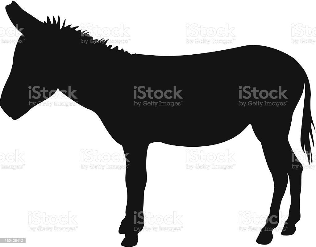 Donkey silhouette vector art illustration