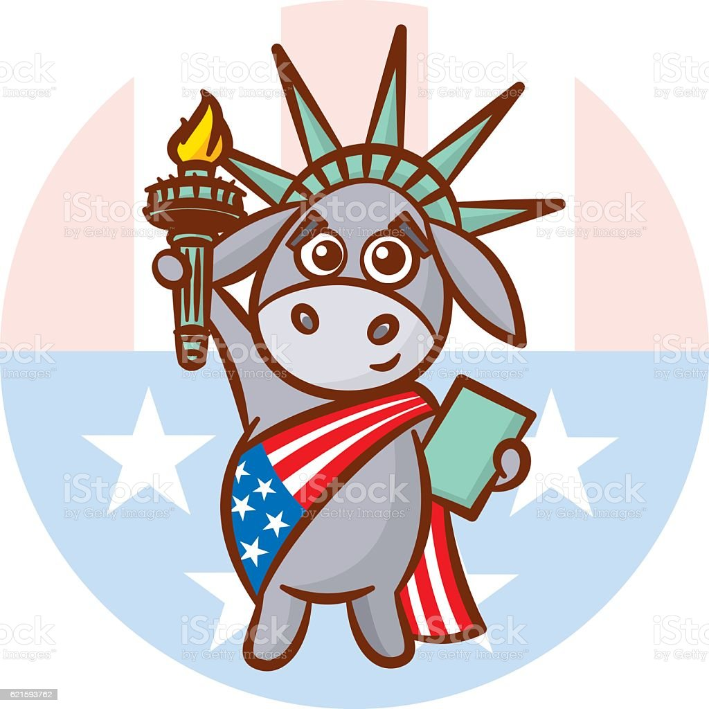 Donkey Symbols of Democrats Political parties in USA Statue Liberty vector art illustration