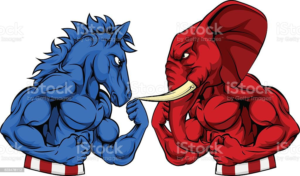 Donkey vs Elephant Politics American Election Concept vector art illustration