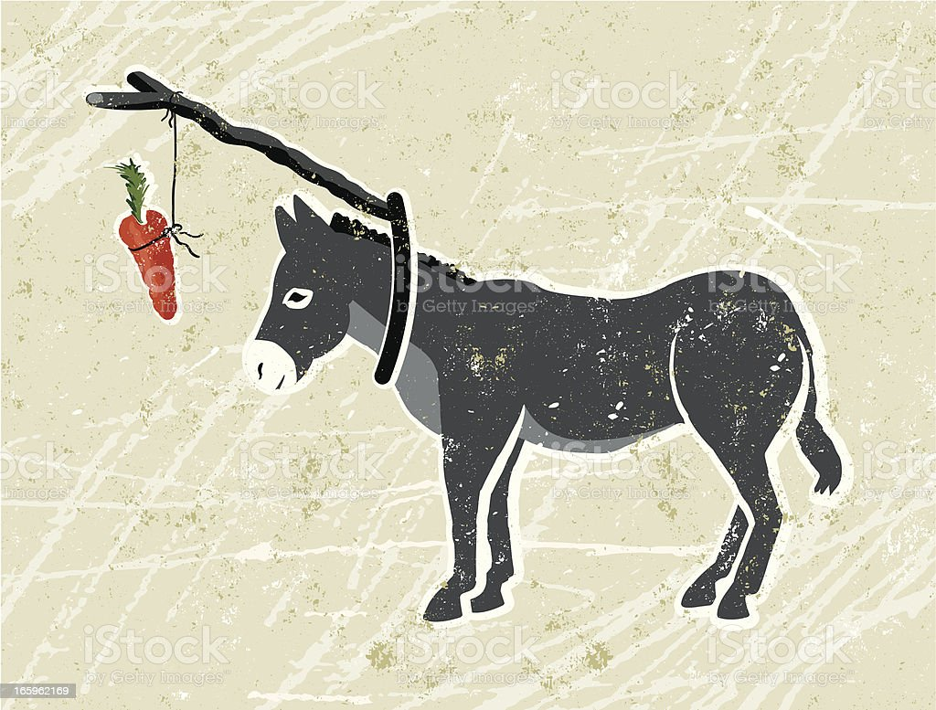 Donkey with Carrot and Stick vector art illustration