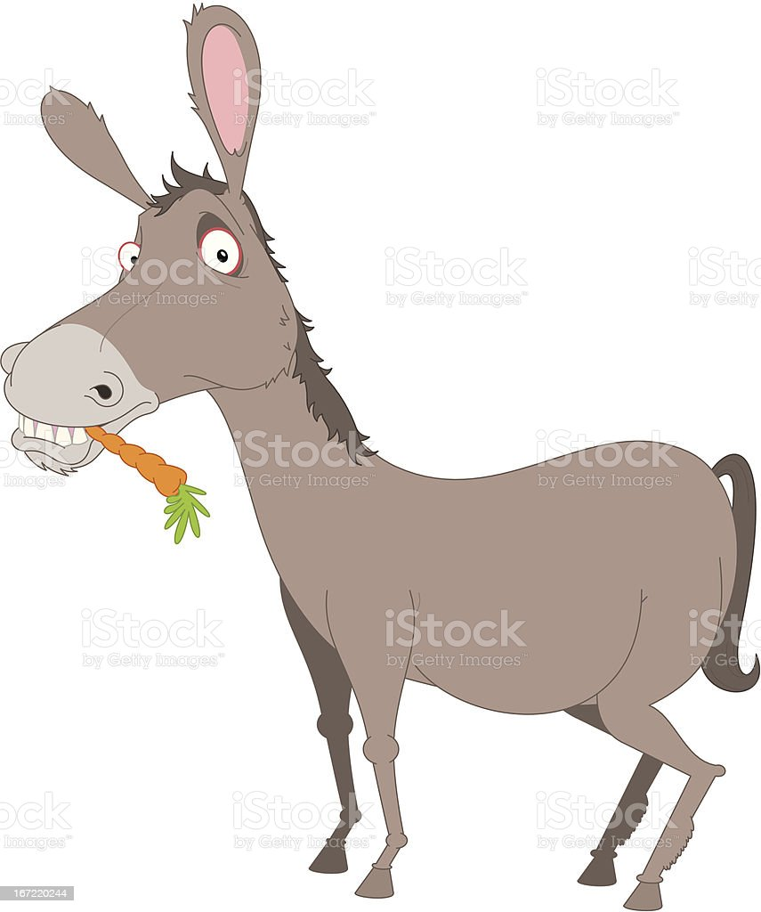 Donkey with carrot royalty-free stock vector art