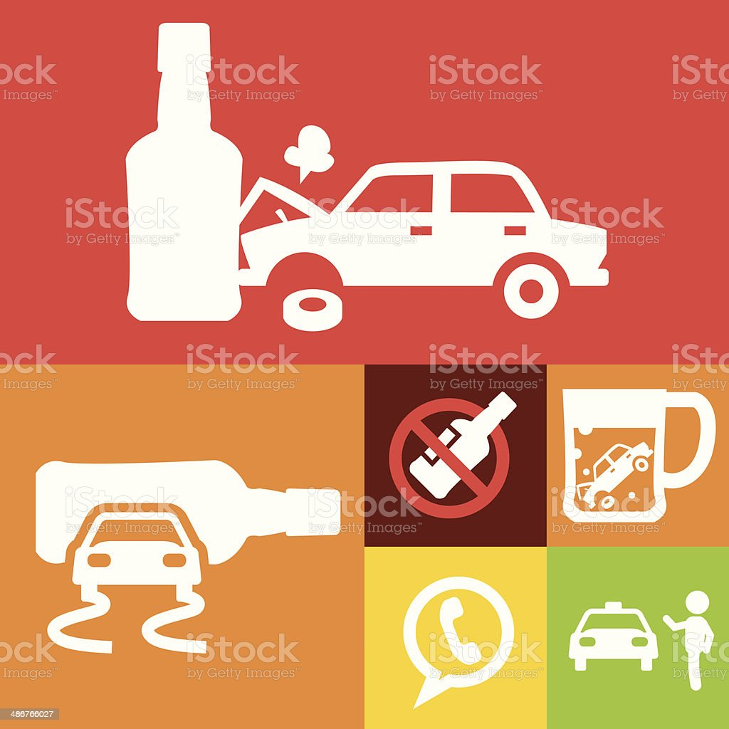 Don't drink and drive symbols vector art illustration