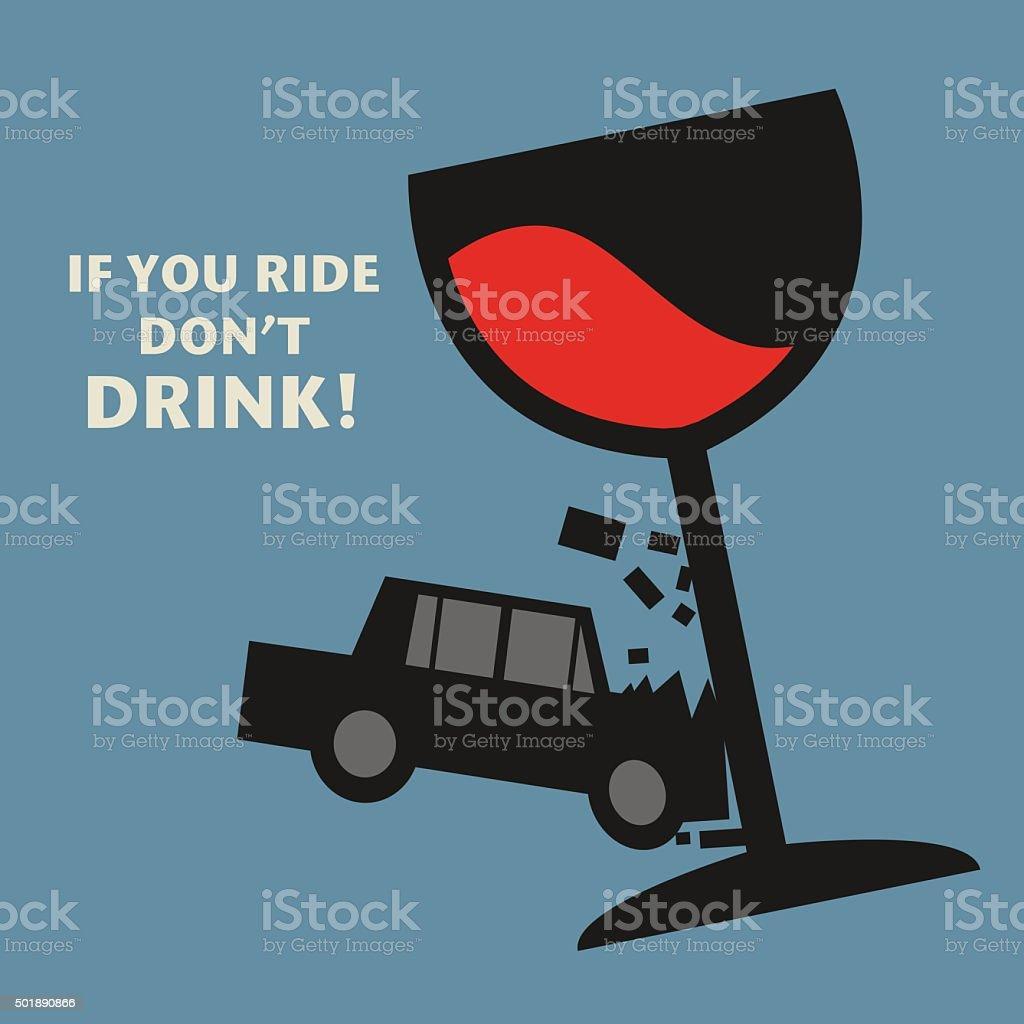 Don't drive drunk, vector vector art illustration
