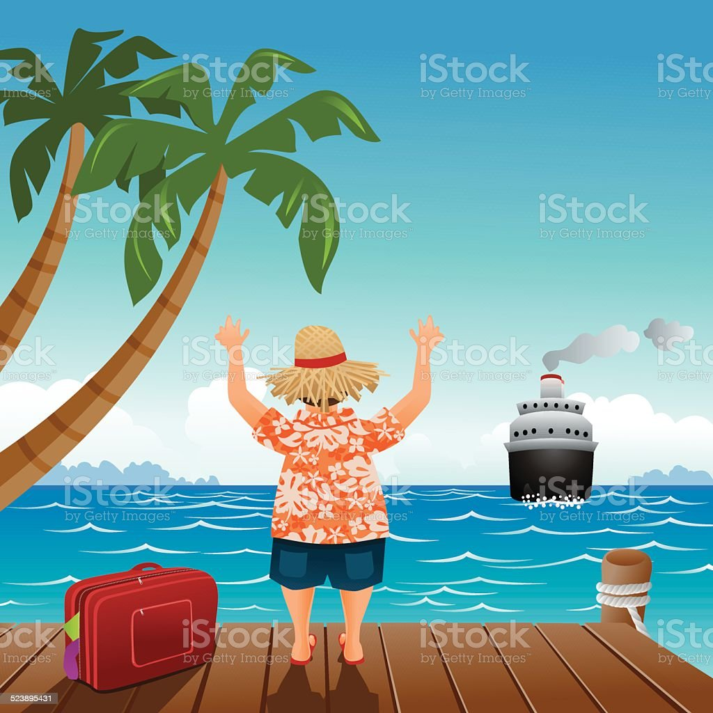 Don't miss the boat vector art illustration