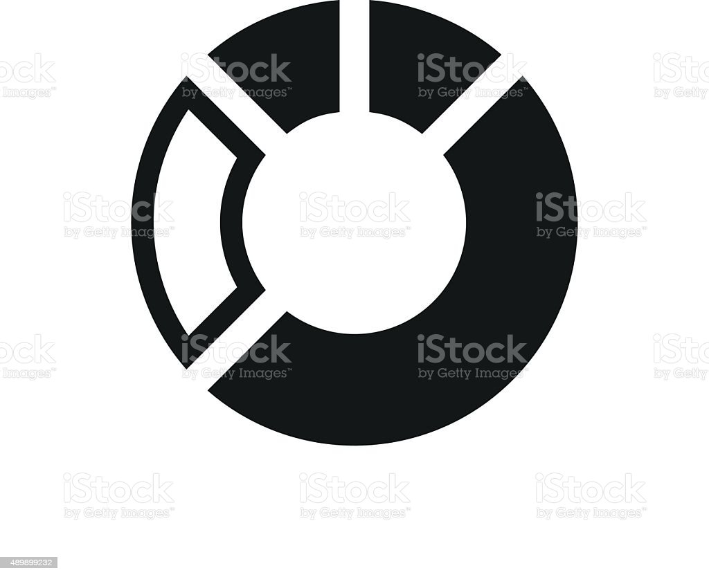 Donut Chart icon on a white background. - Single Series vector art illustration