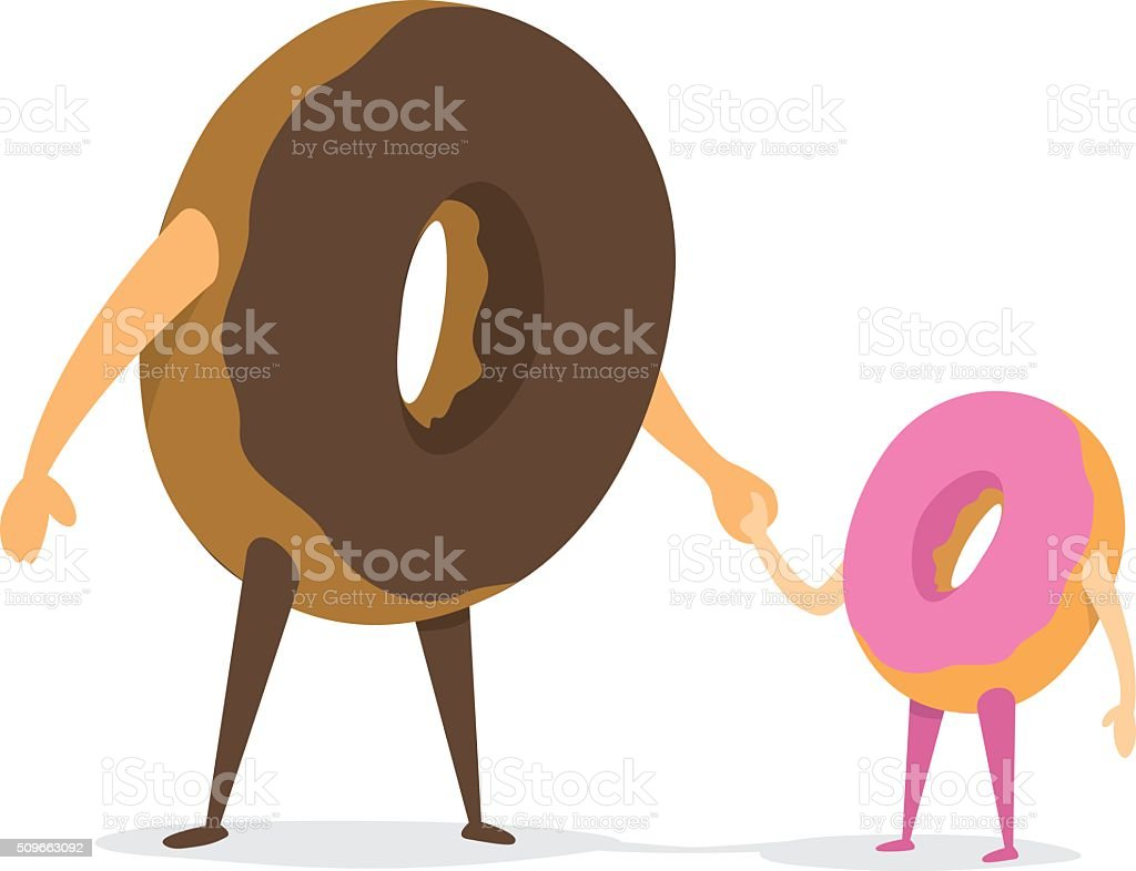 Donut father and daughter holding hands vector art illustration