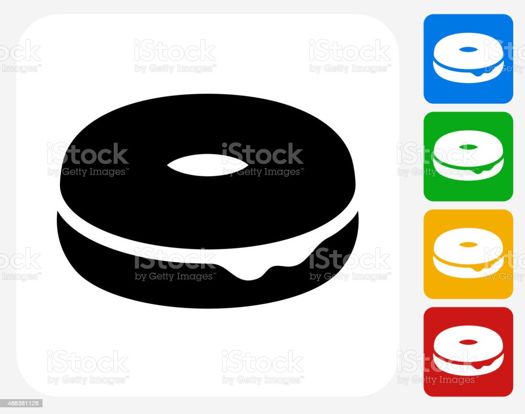 Donut Icon Flat Graphic Design vector art illustration