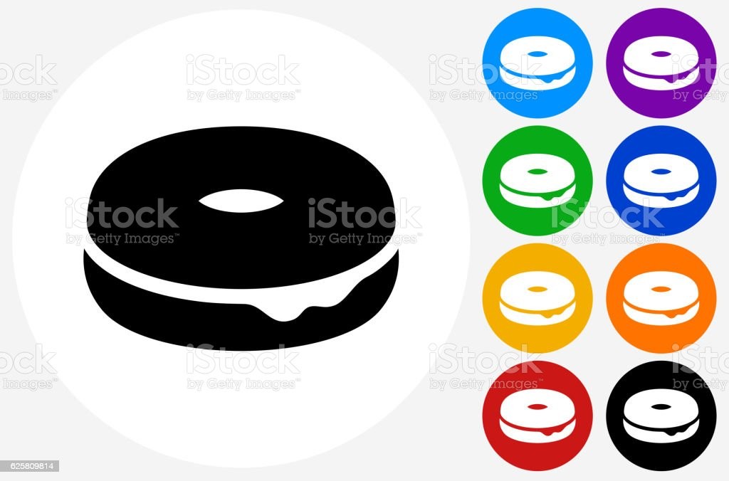 Donut Icon on Flat Color Circle Buttons vector art illustration