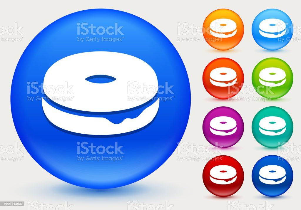 Donut Icon on Shiny Color Circle Buttons vector art illustration