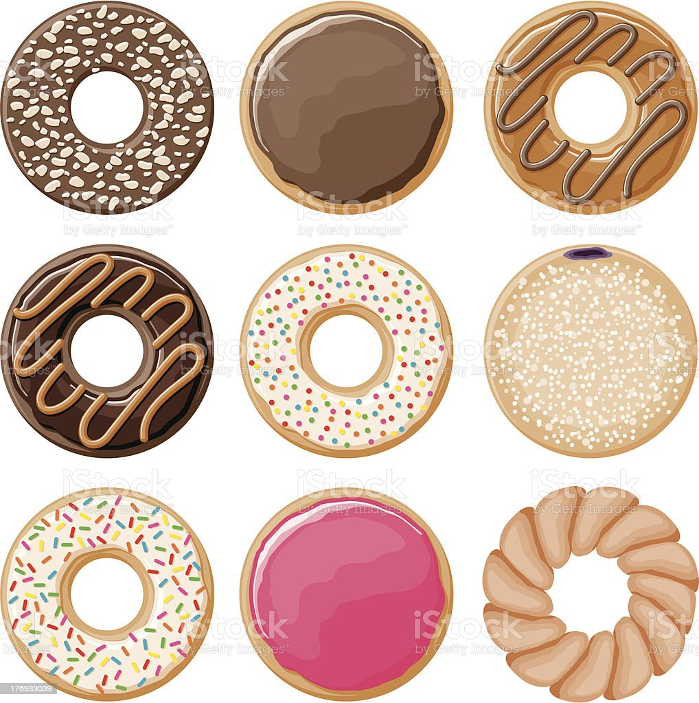 Donut Icon Set vector art illustration