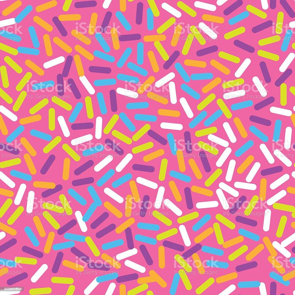 Donut sweet glaze seamless pattern with coconut shavings topping vector art illustration