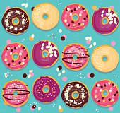 Donuts collection cheerful pattern. Bright seamless back with doughnut.