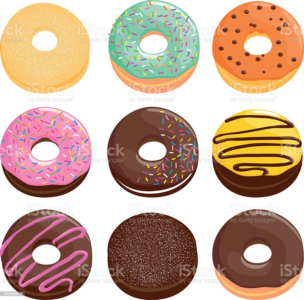 Donuts collection vector art illustration
