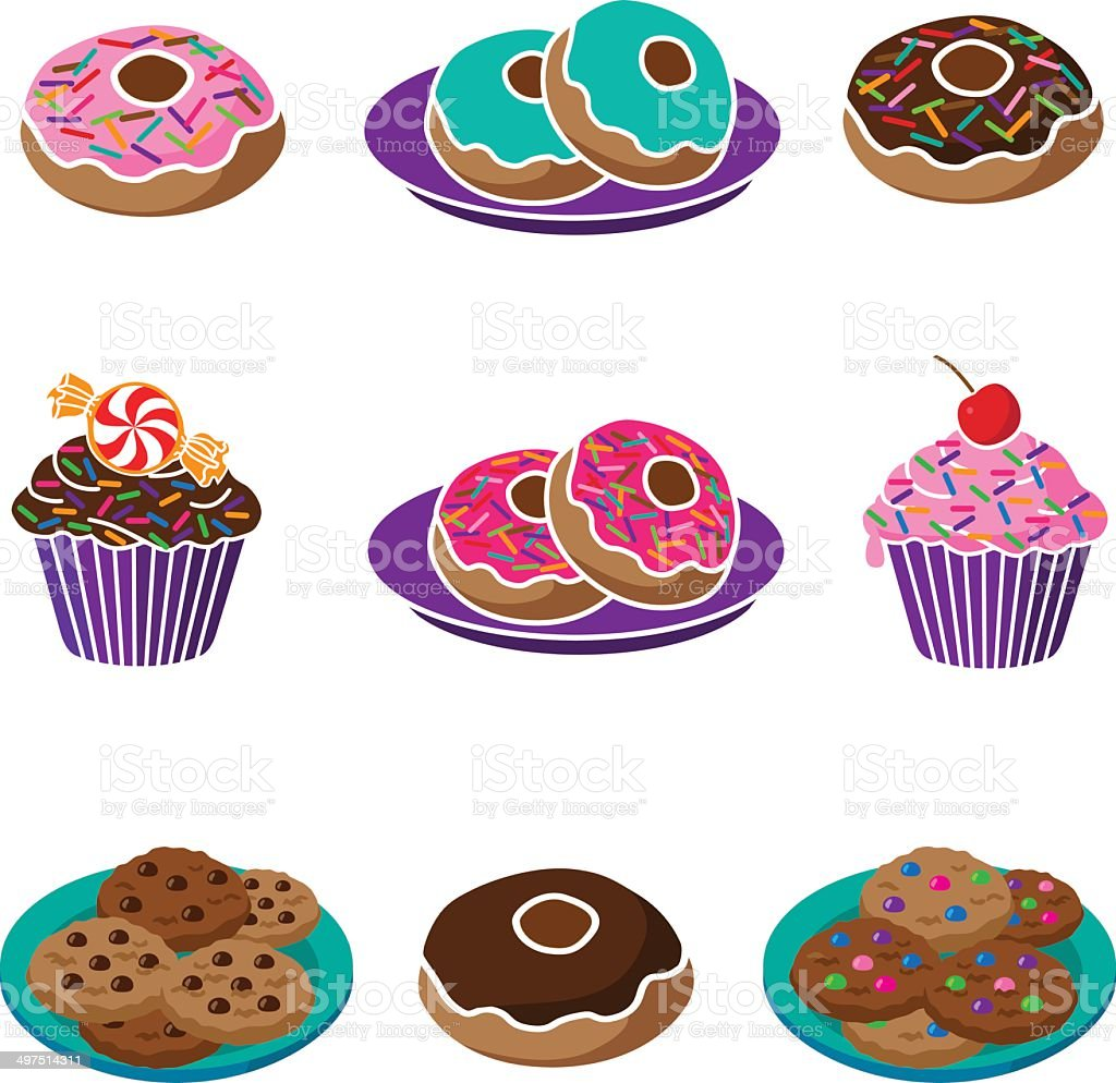 donuts, cookies and cupcakes royalty-free stock vector art