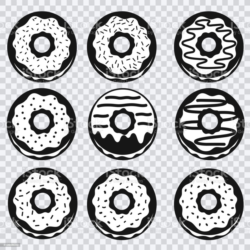 Donuts icons with different fillings vector art illustration