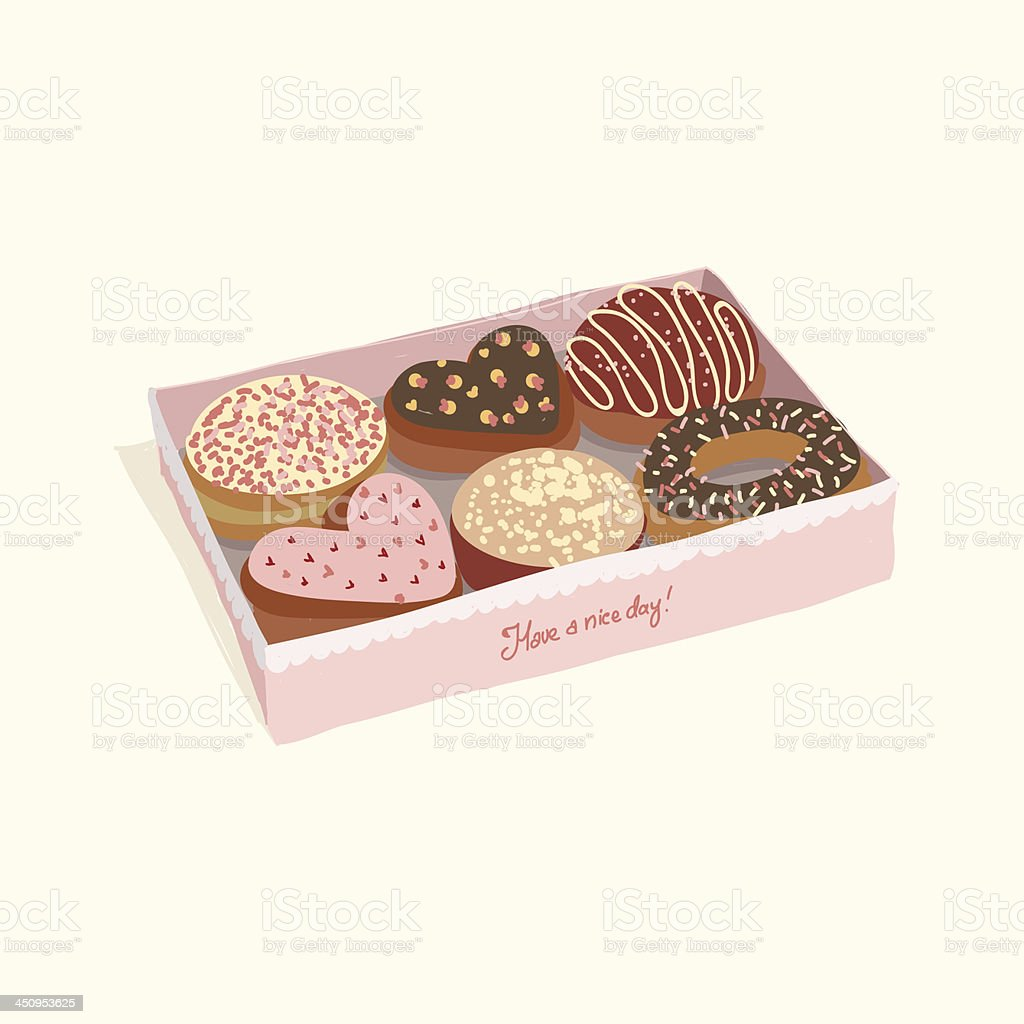 Donuts in the box royalty-free stock vector art