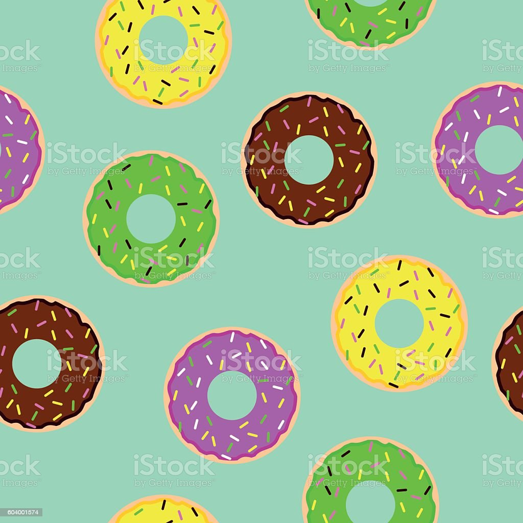 donuts seamless pattern on blue background vector art illustration