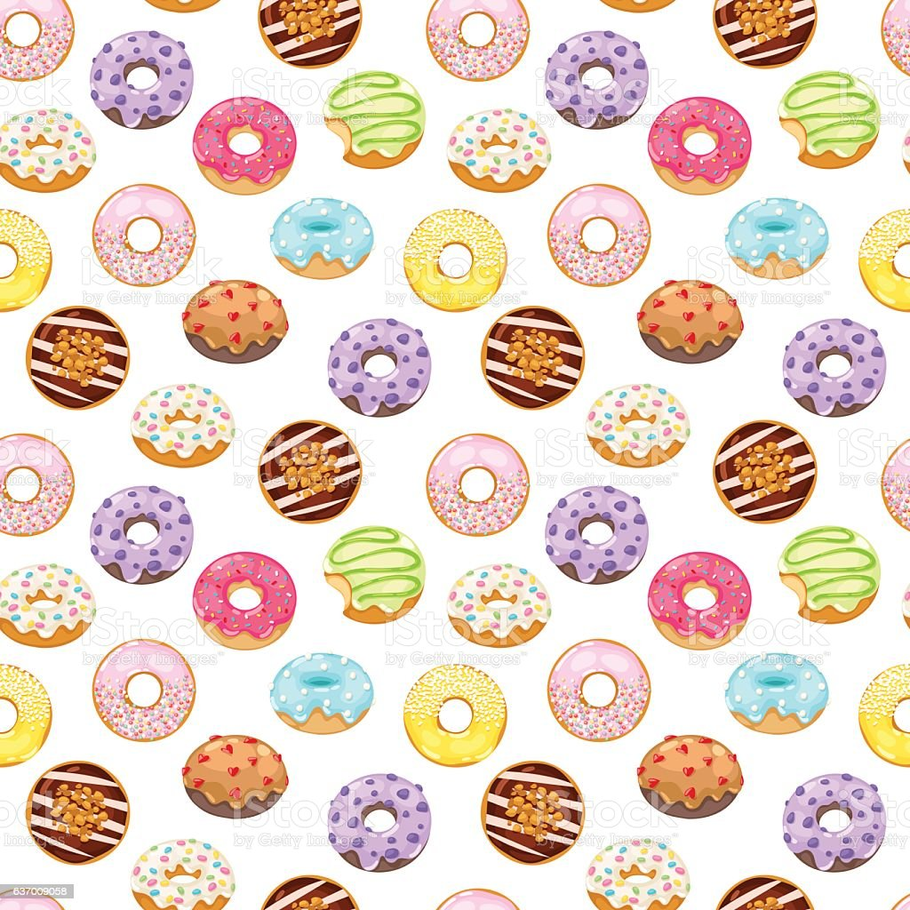 Donuts vector seamless pattern vector art illustration