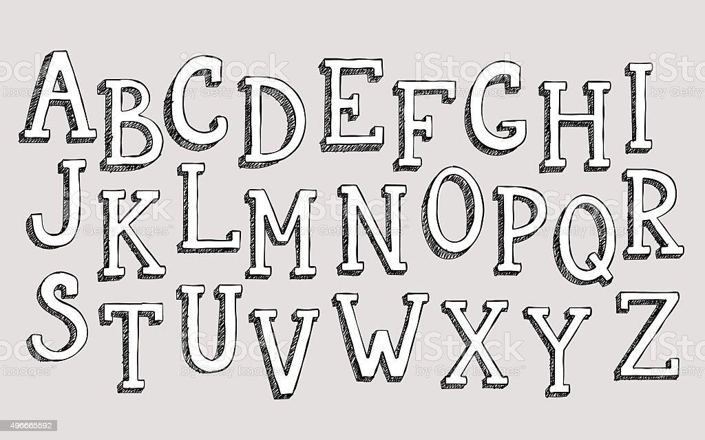 Doodle 3d alphabet vector art illustration