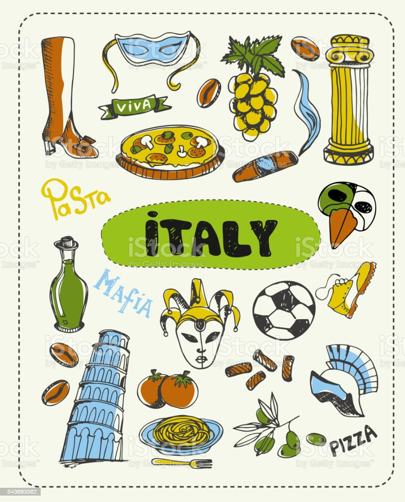 Doodle about Italy. vector art illustration