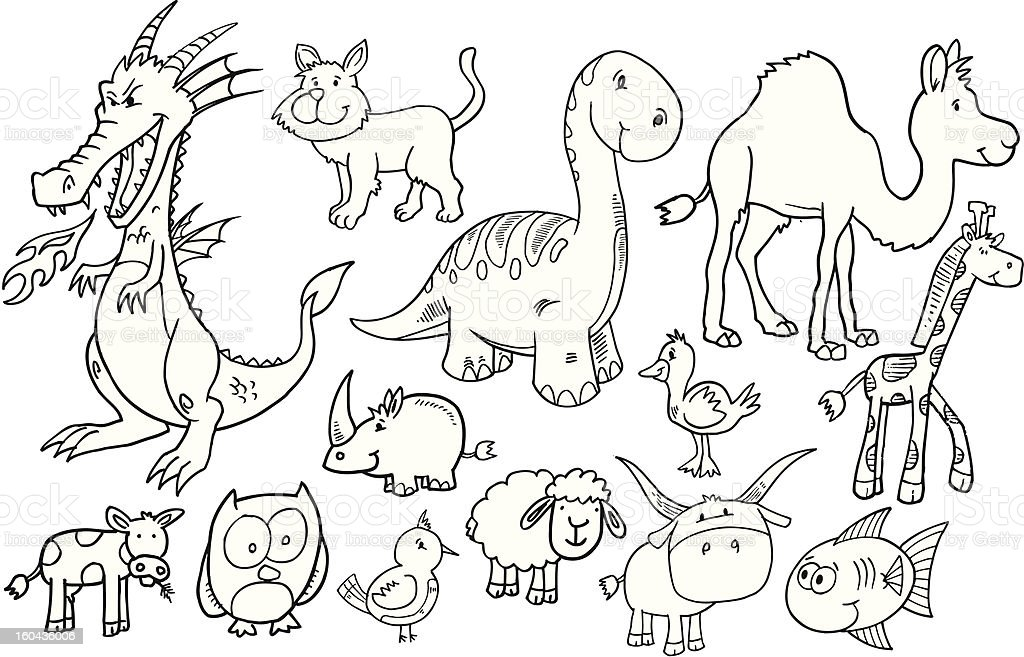 Doodle Animal Set royalty-free stock vector art